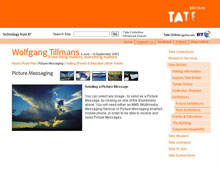 Tate Britain, web page for Wolfgang Tillmans exhibition, 2003