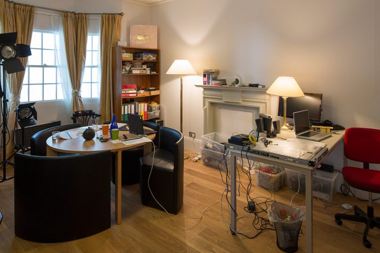 !Mediengruppe Bitnik, Delivery for Mr. Assange, Helmhaus Zürich, 2014. Replica of Julian Assange's office at the Ecuadorian embassy in London. Photo: FBM Studio.